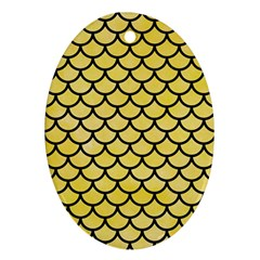 Scales1 Black Marble & Yellow Watercolor Ornament (oval)