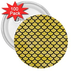 Scales1 Black Marble & Yellow Watercolor 3  Buttons (100 Pack)