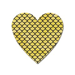 Scales1 Black Marble & Yellow Watercolor Heart Magnet
