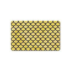Scales1 Black Marble & Yellow Watercolor Magnet (name Card)