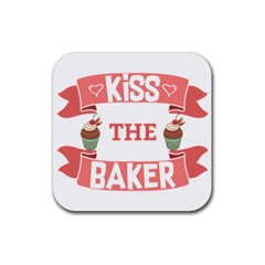 Kiss The Baker Rubber Square Coaster (4 Pack)
