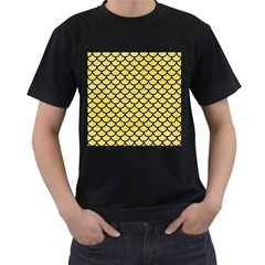 Scales1 Black Marble & Yellow Watercolor Men s T Shirt (black) (two Sided)