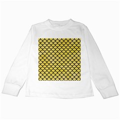 Scales1 Black Marble & Yellow Watercolor Kids Long Sleeve T Shirts