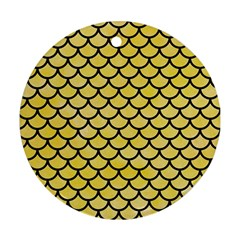 Scales1 Black Marble & Yellow Watercolor Round Ornament (two Sides)