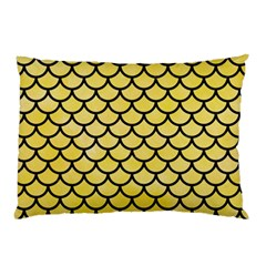 Scales1 Black Marble & Yellow Watercolor Pillow Case
