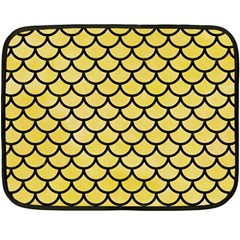 Scales1 Black Marble & Yellow Watercolor Double Sided Fleece Blanket (mini)