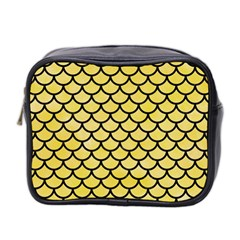 Scales1 Black Marble & Yellow Watercolor Mini Toiletries Bag 2 Side