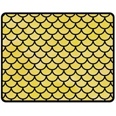 Scales1 Black Marble & Yellow Watercolor Fleece Blanket (medium)