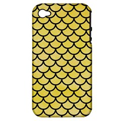 Scales1 Black Marble & Yellow Watercolor Apple Iphone 4/4s Hardshell Case (pc+silicone)