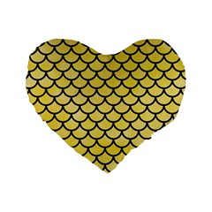 Scales1 Black Marble & Yellow Watercolor Standard 16  Premium Heart Shape Cushions
