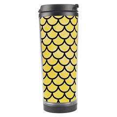 Scales1 Black Marble & Yellow Watercolor Travel Tumbler
