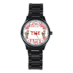 Kiss The Baker Stainless Steel Round Watch