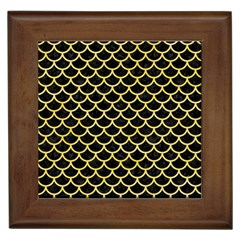 Scales1 Black Marble & Yellow Watercolor (r) Framed Tiles