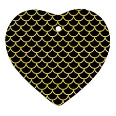 Scales1 Black Marble & Yellow Watercolor (r) Ornament (heart)