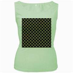 Scales1 Black Marble & Yellow Watercolor (r) Women s Green Tank Top