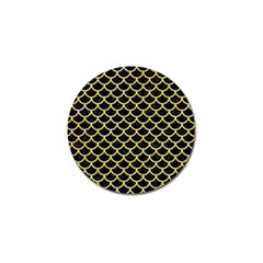 Scales1 Black Marble & Yellow Watercolor (r) Golf Ball Marker