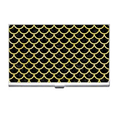 Scales1 Black Marble & Yellow Watercolor (r) Business Card Holders