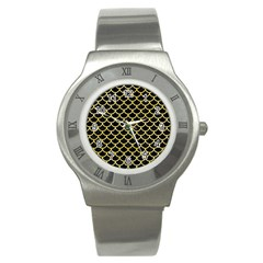 Scales1 Black Marble & Yellow Watercolor (r) Stainless Steel Watch