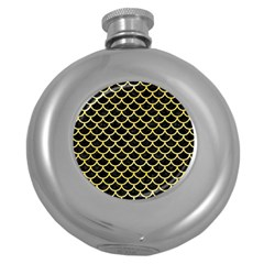 Scales1 Black Marble & Yellow Watercolor (r) Round Hip Flask (5 Oz)