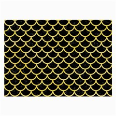 Scales1 Black Marble & Yellow Watercolor (r) Large Glasses Cloth