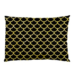 Scales1 Black Marble & Yellow Watercolor (r) Pillow Case