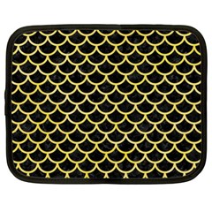 Scales1 Black Marble & Yellow Watercolor (r) Netbook Case (xl)