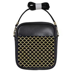 Scales1 Black Marble & Yellow Watercolor (r) Girls Sling Bags