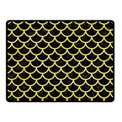 Scales1 Black Marble & Yellow Watercolor (r) Fleece Blanket (small)