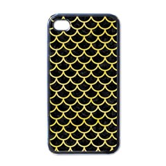 Scales1 Black Marble & Yellow Watercolor (r) Apple Iphone 4 Case (black)