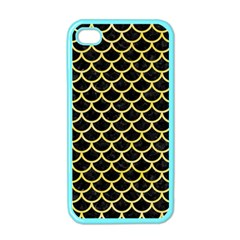 Scales1 Black Marble & Yellow Watercolor (r) Apple Iphone 4 Case (color)