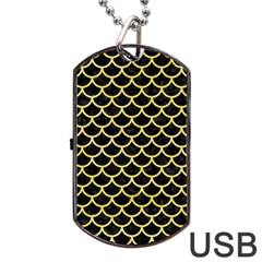 Scales1 Black Marble & Yellow Watercolor (r) Dog Tag Usb Flash (two Sides)