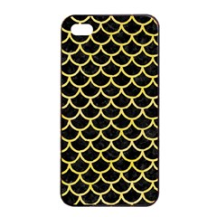 Scales1 Black Marble & Yellow Watercolor (r) Apple Iphone 4/4s Seamless Case (black)