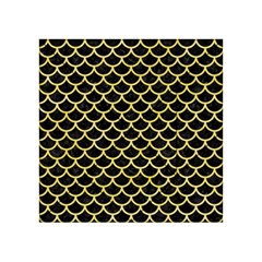 Scales1 Black Marble & Yellow Watercolor (r) Acrylic Tangram Puzzle (4  X 4 )