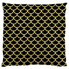 Scales1 Black Marble & Yellow Watercolor (r) Large Cushion Case (one Side)