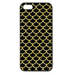 Scales1 Black Marble & Yellow Watercolor (r) Apple Iphone 5 Seamless Case (black)