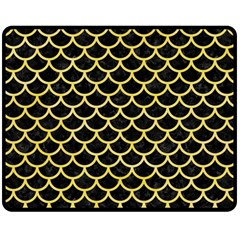 Scales1 Black Marble & Yellow Watercolor (r) Double Sided Fleece Blanket (medium)