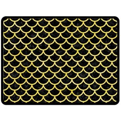 Scales1 Black Marble & Yellow Watercolor (r) Double Sided Fleece Blanket (large)