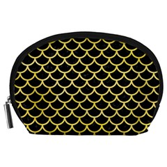Scales1 Black Marble & Yellow Watercolor (r) Accessory Pouches (large)