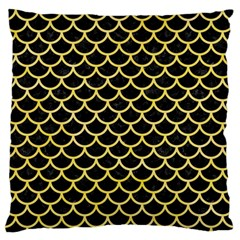 Scales1 Black Marble & Yellow Watercolor (r) Large Flano Cushion Case (two Sides)