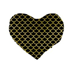 Scales1 Black Marble & Yellow Watercolor (r) Standard 16  Premium Flano Heart Shape Cushions