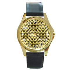 Scales2 Black Marble & Yellow Watercolor Round Gold Metal Watch