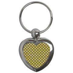 Scales2 Black Marble & Yellow Watercolor Key Chains (heart)