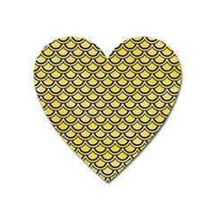 Scales2 Black Marble & Yellow Watercolor Heart Magnet