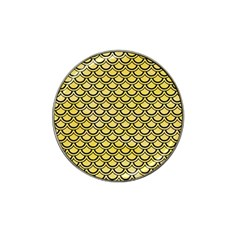 Scales2 Black Marble & Yellow Watercolor Hat Clip Ball Marker
