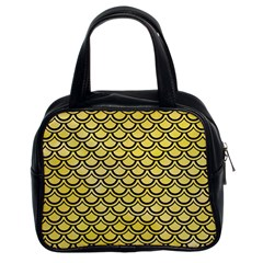 Scales2 Black Marble & Yellow Watercolor Classic Handbags (2 Sides)