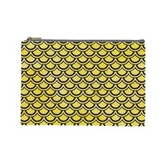 Scales2 Black Marble & Yellow Watercolor Cosmetic Bag (large)