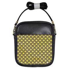 Scales2 Black Marble & Yellow Watercolor Girls Sling Bags