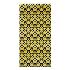 Scales2 Black Marble & Yellow Watercolor Shower Curtain 36  X 72  (stall)