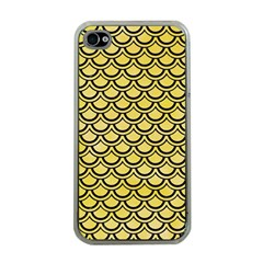 Scales2 Black Marble & Yellow Watercolor Apple Iphone 4 Case (clear)