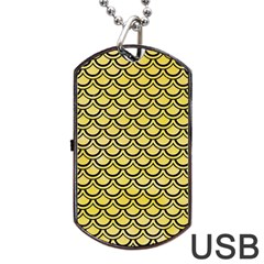 Scales2 Black Marble & Yellow Watercolor Dog Tag Usb Flash (one Side)